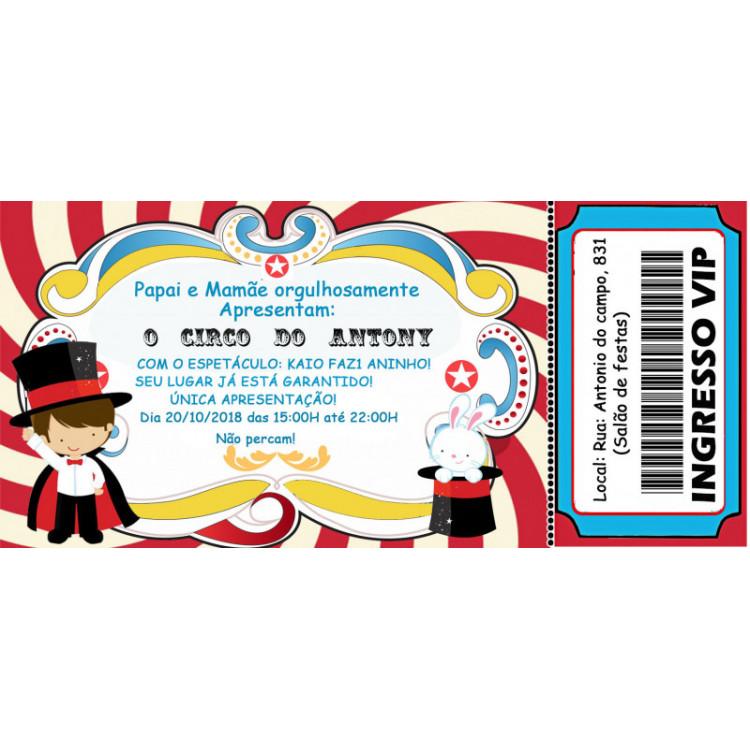20 Convite Circo Ingresso frete Grátis